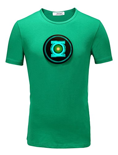 TL Green Lantern Superhero LED Sound Activated Equalizer Party Cosplay Costume Tshirt