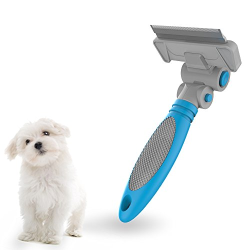 Pet Brush - Colpet GT02 Pet Dog and Cat Brush for Shedding, Adjustable Angle, Stainless Razor, Blue (Diy Dog Harness compare prices)