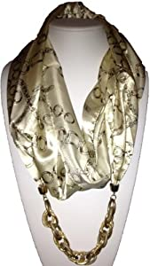Marc Gold Infinity Scarf- Ivory With Chain