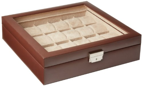 Tech Swiss  TS5849BRN Leather Watch Box Extra Large Watch Case