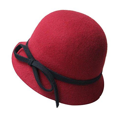 Chapeau-de-feutre-dur-vintage-Fedora-Chapeau-de-billycock-de-laine-Chapeau-de-lanceur-Cloche-rouge