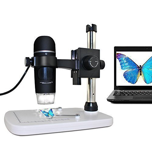 MAOZUA 5MP USB Microscope 20x-300x Magnifier Video Microscope with Professional Base Stand Support Windows XP Vista Win7 Win8 Win10 Mac