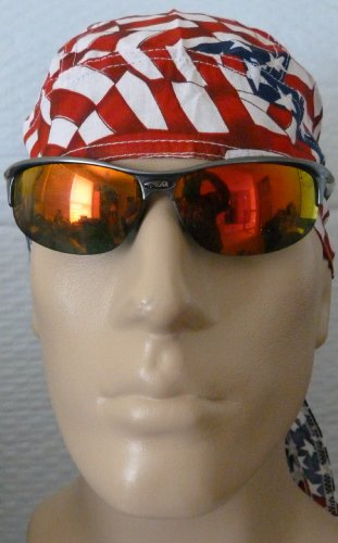 Patchwork American Flag Headwrap/ Bikers Cap/ Welders Cap/ Painters Cap, United States Medical Cap, U.S. Flag Bandana, Patch Design of American Flag with Stars and Stripes, Patriotic, Red, White Blue American Flag Patched Design Style, Breathable 100% Cotton, One Size to Fit Men, Women and Teens, America, USA, Suitable for Cancer Patients and Survivors, Athletes, Medical, Welding, Healthcare, Bikers, Truckers, Painters and Food Workers to Keep Hair Out of Face