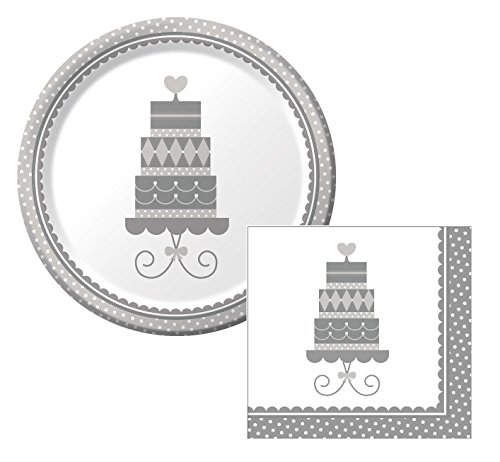 Forever Sweet Wedding Lunch Napkins & Plates Party Kit for 8