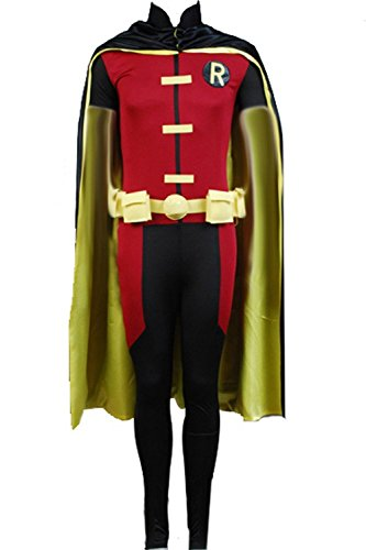 [Dben Men's Cosplay Robin Cosplay Costume Jumpsuit with Cape Suits for Halloween] (Firefly Kids Costumes)