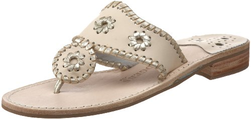 Jack Rogers Women's Palm Beach Platinum Flat Thong,Creme/Platinum,7.5 M US
