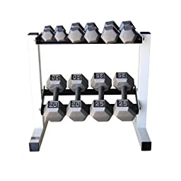 Cap Barbell Solid Hex Dumbbell Set with Rack (150 Pound)