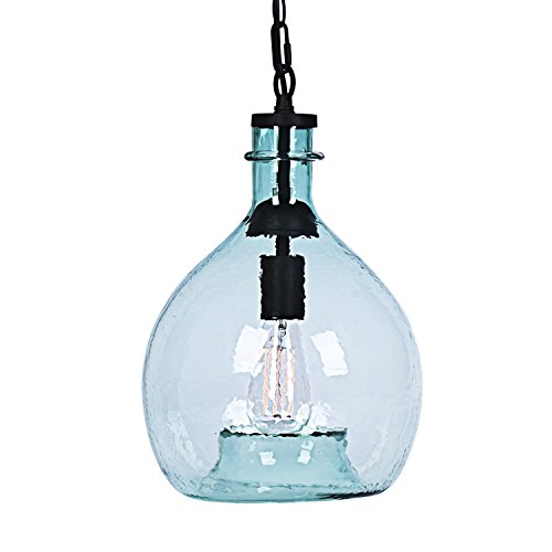 wavy vintage industrial hand blown art glass 1 light pendant light