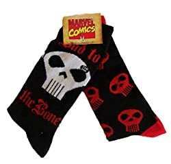 Marvel Comics men's socks Bad to the Bone crew black 2 pairs