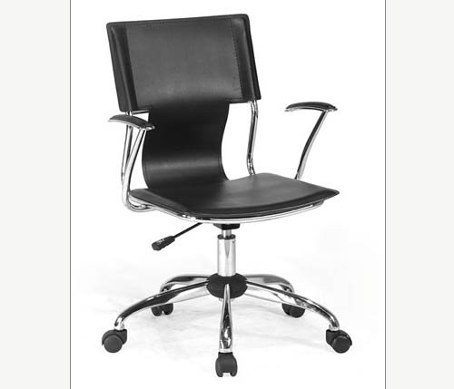 Black Designer Chrome Frame Faux Leather Office Chair