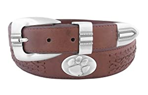 NCAA Clemson Tigers Full Grain Leather Braided Concho Belt by ZEP-PRO