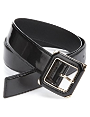 M&S Collection Patent Square Buckle Belt