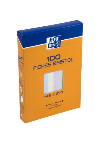 Oxford 100104451 - Carta Bristol formato A5, 100 fogli, colori assortiti