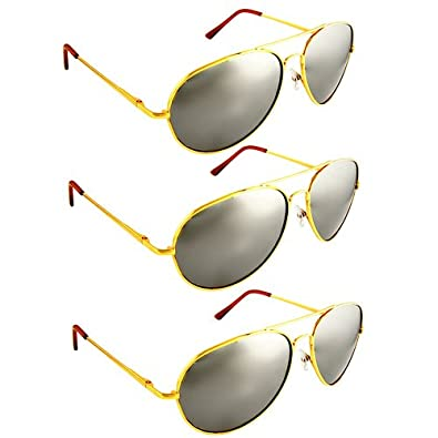 Premium Mirrored Aviator Sunglasses - Gold(3Pack) Special