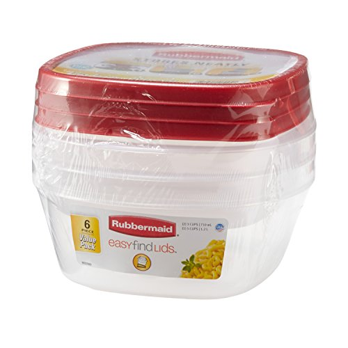 Rubbermaid Easy Find Lid Food Storage Container, BPA-Free Plastic, 6-Piece Set (Plastic Cups Microwave Safe compare prices)