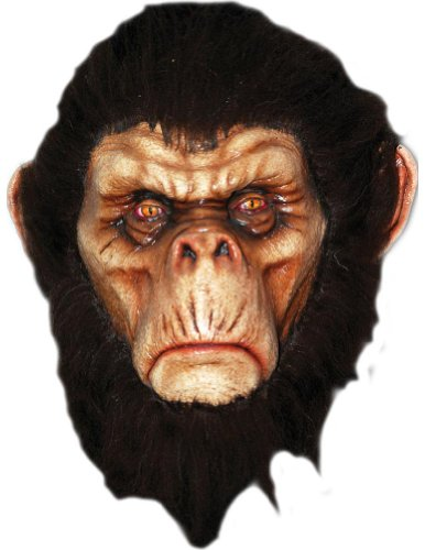 Scary-Masks Bad Brown Chimp Latex Mask Halloween Costume - Most Adults