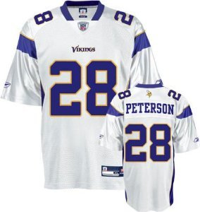 Adrian Peterson Minnesota Vikings WHITE Equipment - Replica NFL YOUTH Jersey (X-Large 18/20) at Amazon.com