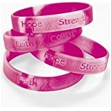 Fun Express 12 Ribbon Silicone Camouflage Bracelets Breast Cancer Awareness Wrist Bands, Pink