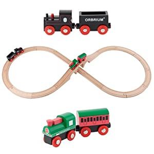 Orbrium Toys Wooden Train Set Featuring 3 Arches Bridge and 2 Engines Fits Thomas Brio, Figure-8