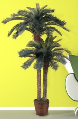 Nearly Natural 6-Foot and 4-Foot Artificial Double Potted Sago Silk Palm Tree
