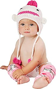 Pink Sock Monkey Beanie Cap by Huggalugs (Medium 6-24 months)