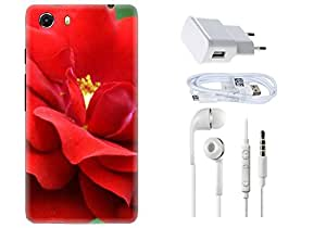 Spygen Micromax Q372 Unite Combo of Premium Quality Designer Printed 3D Lightweight Slim Matte Finish Hard Case Back Cover + Charger Adapter + High Speed Data Cable + Premium Quality Handfree