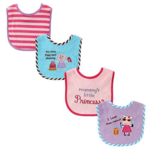 Luvable Friends 4-Pack Applique/Embroidery Bib - Pink