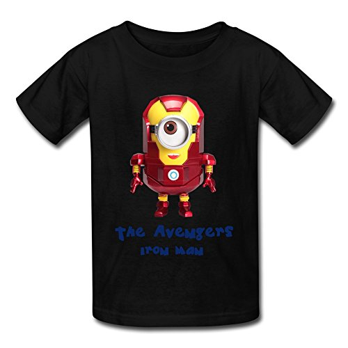Kids Boys Girls Tee Shirt Minion Iron Man The Avengers Superhero Black