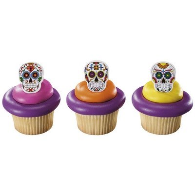 Day of the Dead Dia de Muertos Skeleton Cupcake Rings - 24 pcs - 1