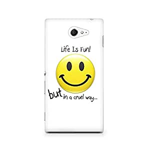 Motivatebox - Sony Xperia M2 S50H Back Cover - Life Smiley Polycarbonate 3D Hard case protective back cover. Premium Quality designer Printed 3D Matte finish hard case back cover.