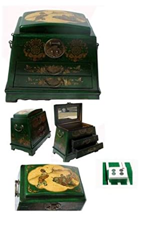 Chinese Leather Green Children Playing Mah Jong Set