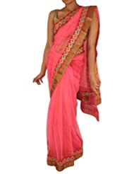Sweta Sutariya Women's Net Bright Pink Saree