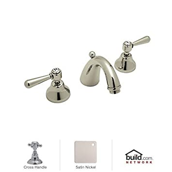 Rohl A2707XMSTN-2 Verona Widespread Bathroom Faucet with Pop-Up Drain And Metal Cro, Satin Nickel