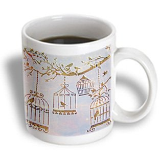 3Drose Mug_163069_1 Image Of Birds And Bird Cages In Fall Colors And Tree Branch Ceramic Mug, 11-Ounce