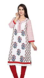 Offwhite and Red Printed Cotton Kurta