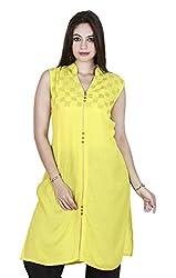 Eessence Women's Silk Kurta (LSFK014_YL_L, Yellow, L)