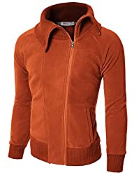 Doublju Mens Terry Zip-up Hood Slim f…