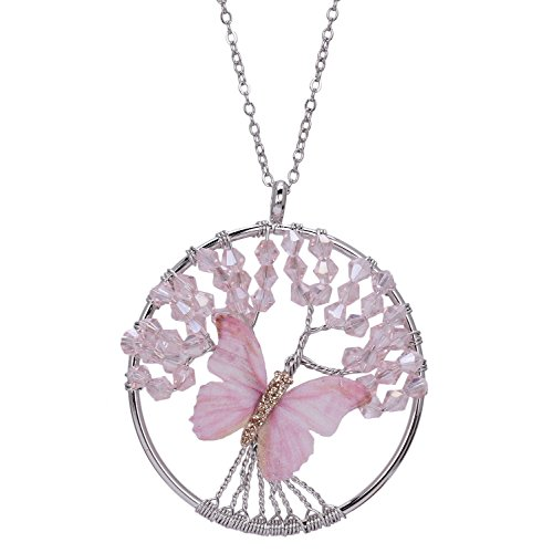 Tree of Life Pendant Necklace Pink Crystal Beaded Necklace Wire Wrapped Tree Pendant Butterfly Necklace Animal Jewelry (Crystal Butterfly Pendant compare prices)