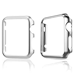 Apple Watch Case,TitanFan [Set of Two] Super Thin Polycarbonate Hard Protective PC Plated Cover Case With Slim Premium Aluminum Protective Case For Apple Watch (38mm Apple Watch- Silver Set)