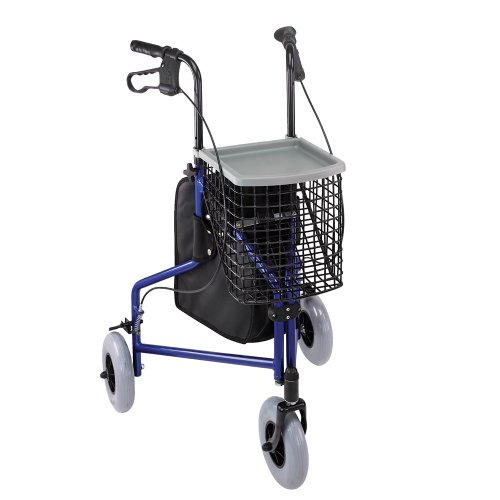 Duro-Med Folding Walker With Wheels, 3 Wheel Rollator Walker With Tray, Basket, and Bag, Royal Blue (Three Wheeled Walker compare prices)