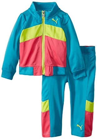 PUMA - Kids Baby-Girls Infant Tricot Colorblock Chevron Set, Capri Breeze, 12 Months