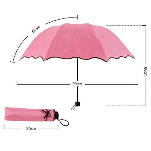 rain queen wave edge 3 folding flower parasol sun protection anti uv pink umbrella for women. Black Bedroom Furniture Sets. Home Design Ideas