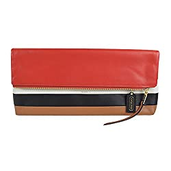 Coach Borough XL Clutch Leather Bag Vermillion Stripe 30361 Multicolor
