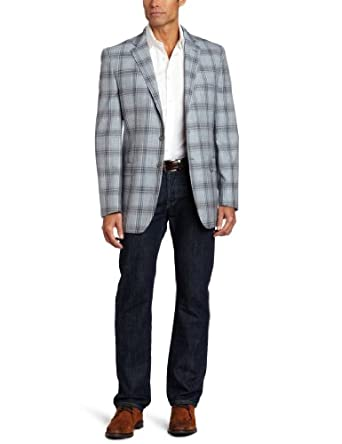 Joseph Abboud Men's 2 Button Side Vent Plaid Sport Coat,  Blue, 42 R