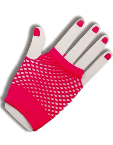 Sexy Neon Pink Fishnet Fingerless 80s Rock Costume Half Gloves