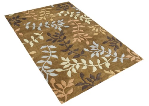 ZnZ Rugs Gallery 26003_5X8 Hand Made New Zealand Blend Wool Rug, 5 by 8-Feet, Oak/Misted Yellow/Blue Haze/Inca Gold