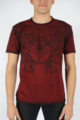 Affliction - Mens Primitive Rev.Tee T-Shirt In Dirty Red Lava/Black, Size: Large, Color: Dirty Red Lava/Black