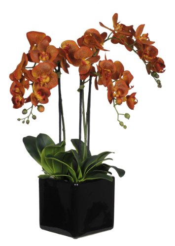 Artificial Triple-stem Phalaenopsis Orchid Arrangement Paprika Orange