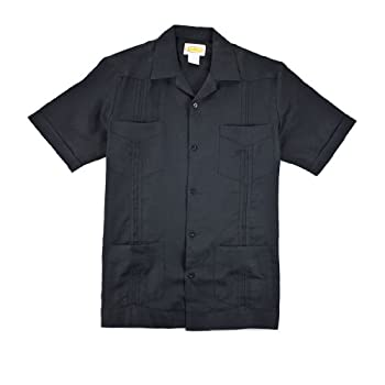 Black Linen Guayabera - Formal Pleating