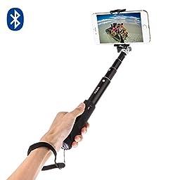 Selfie Stick, iTECHOR Aluminum Alloy Foldable Monopod Extendable Wireless Bluetooth 3.0 Selfie Stick Adjustable Phone Holder